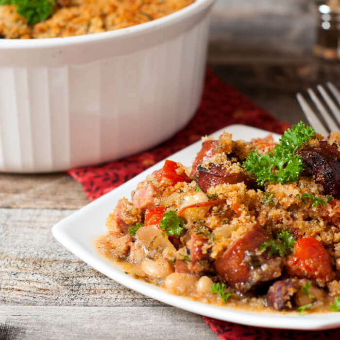 Easy Cassoulet with Smoked Sausage and Ham