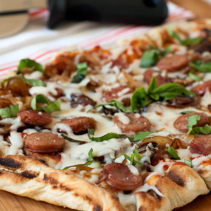 Grilled Pizza with Pork Sausage, Mushrooms and Onions