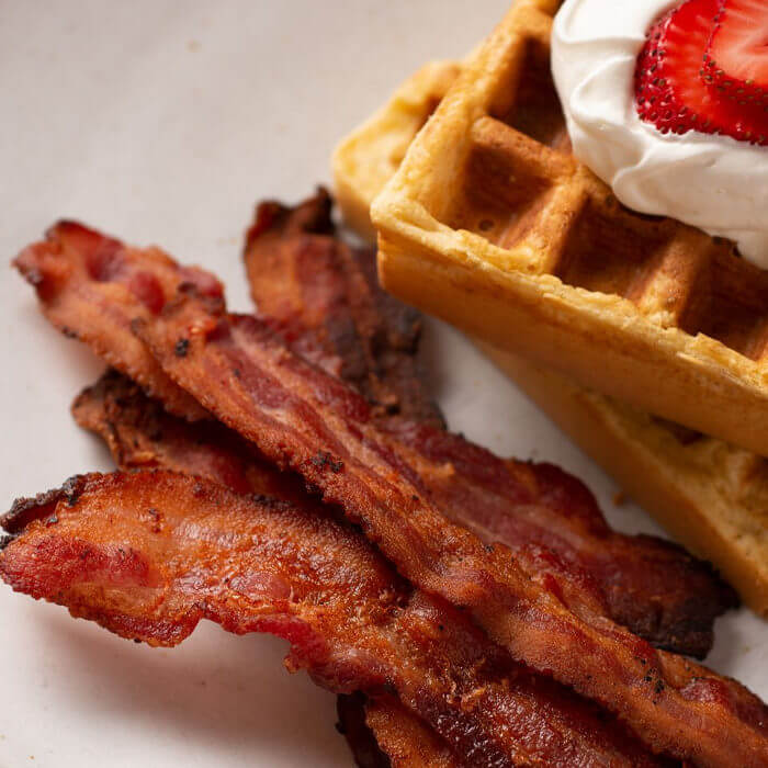 bacon with waffle on a plate