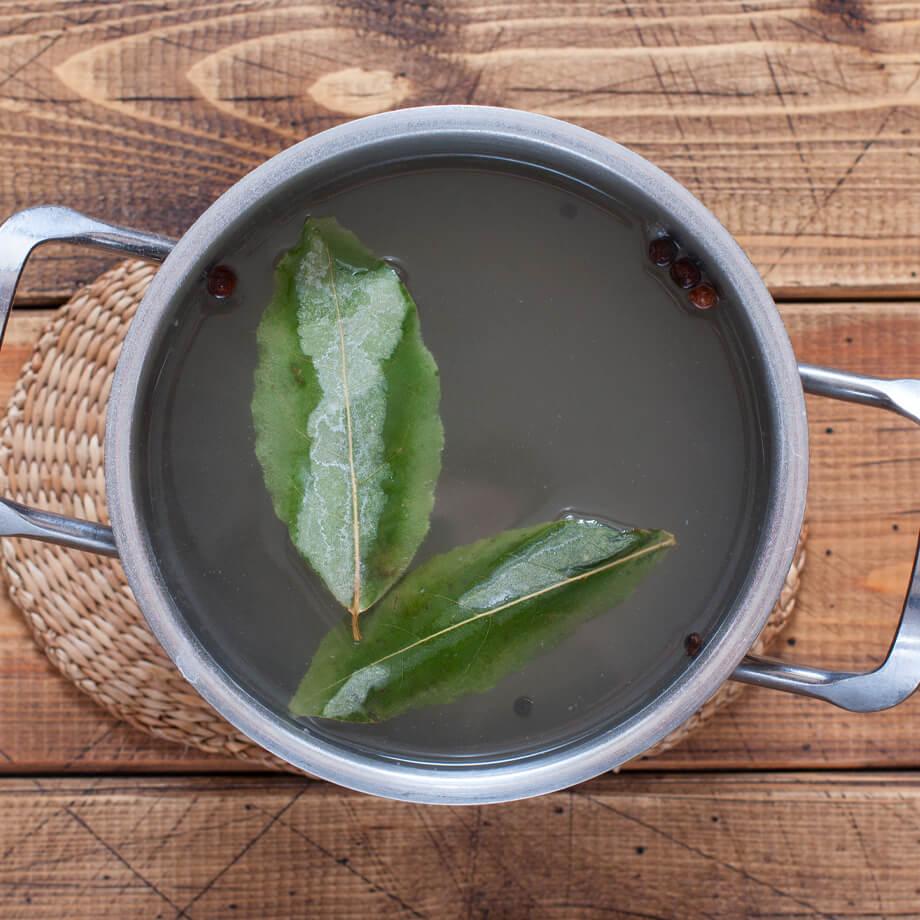 Brine ingredients in a pot