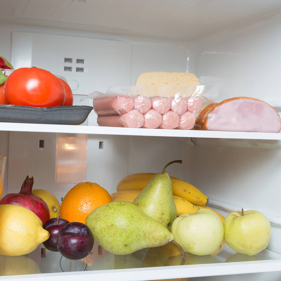 Fridge stocked with healthy food