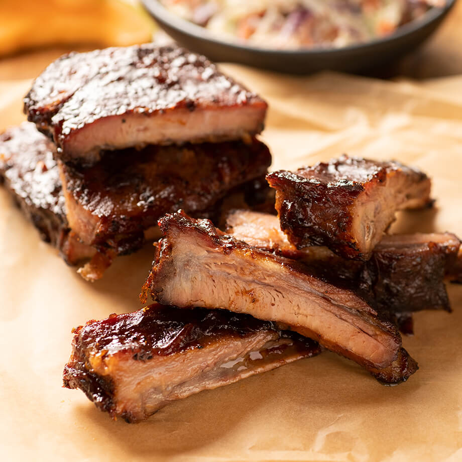 Sliced ribs on butcher paper