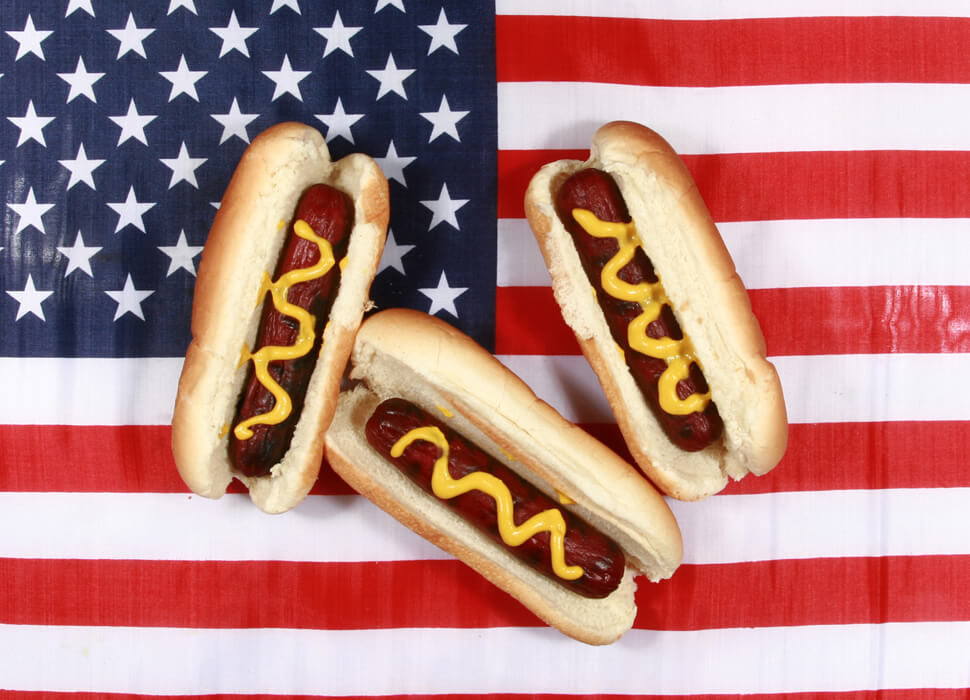 hot dogs on a flag